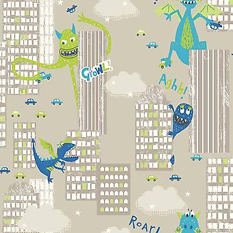 Arthouse Monster Madness City Pattern Dragon Dinosaur Childrens Green Taupe Wallpaper