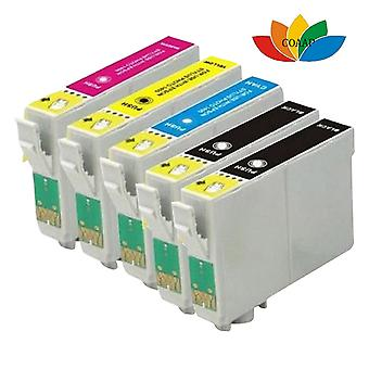 RudyTwos Replacement for Epson Fox Set Ink Cartridge Black Cyan Yellow & Magenta + 1x Extra Black (5 Pack) Compatible with S22, SX125, SX130, SX230, SX235W, SX420W, SX425W, SX430W, SX435W, SX438W, SX4