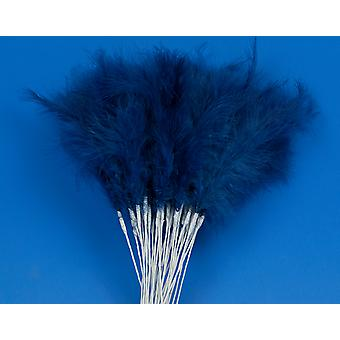 36 Navy Blue 28cm Feather Spray Picks for Floristry & Crafts