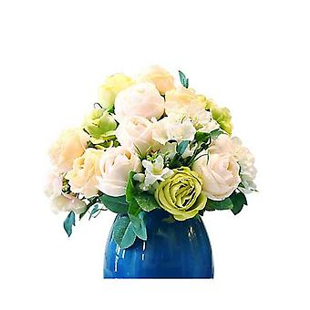 Soga 3Pcs Artificial Silk 15 Heads Flower Bouquet Table Decor White