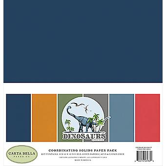 Carta Bella Dinosaurs 12x12 Inch Coordinating Solids Papaer Pack