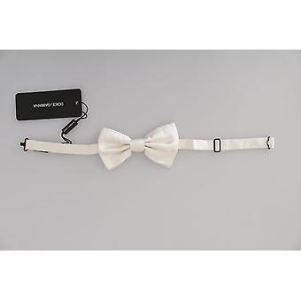 Dolce & Gabbana Men Alb 100% Mătase Reglabil Gât Fluture Papion -- FT20465584
