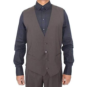Dolce & Gabbana Brown Striped Stretch Dress Vest -- VES1866565