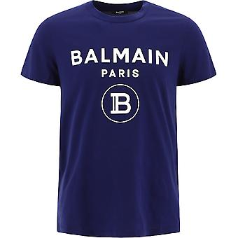 Balmain Uh01601i3946ut Män's Blue Cotton T-shirt