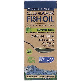 Wiley-apos;s Finest, Huile de poisson sauvage de l'Alaska, Summit DHA, Natural Lime Flavor, 4.23 fl