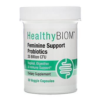 HealthyBiom, Feminine Support Probiotics, 25 Billion CFUs, 30 Veggie Capsules