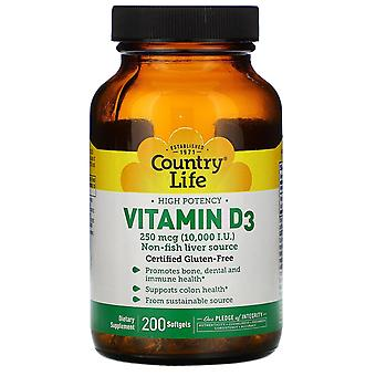 Country Life, High Powerncy Vitamin D3, 250 mcg (10 000 UI), 200 Softgels