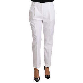 Dolce & Gabbana Valkoinen Puuvilla Stretch Muodolliset Housut Housut