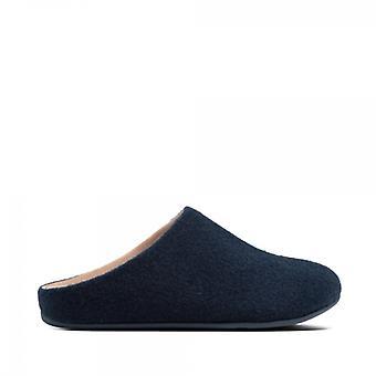 FitFlop Chrissie Felt Ladies Mule Slippers Maritime Blue