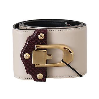 Dolce & Gabbana Beige Leather Gold Buckle Wide Waist  Belt BEL50222-80