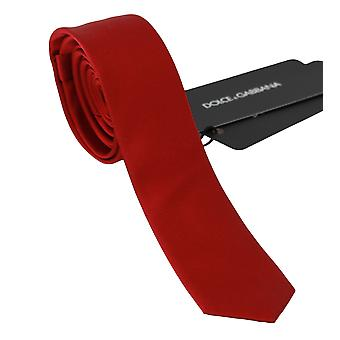 Dolce & Gabbana Red 100% Silk Classic Mens Slim Cravată KRA718
