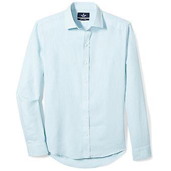 BUTTONED DOWN Miehet's Slim Fit Spread-Collar Casual Pellava Puuvillapaita, Aqua, 1...