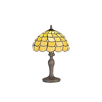 Luminosa Lighting - 1 Light Curved Table Lamp E27 With 30cm Tiffany Shade, Beige, Clear Crystal, Aged Antique Brass