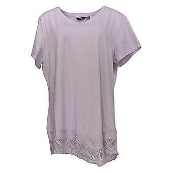 H بواسطة هالستون المرأة & apos s زائد أعلى قصيرة-Slv V-Neck W/Lace Hem Purple A354495