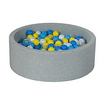 Poço de bola 90 cm com 300 bolas mãe de pérola, transparente, amarelo, azul e azul claro