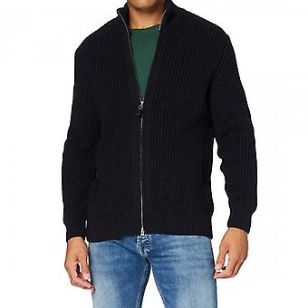 Superdry Downhill Zip Up Chunky Knit Cardigan Navy Twist APX