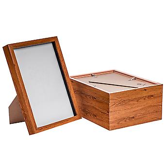 "Nicola Spring Acrylic Box Photo Frame - Dark Wood - 8 x 12"" (A4) - Pack of 5"