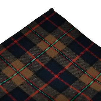 Ties Planet Tresanti Brown, Navy Blue, Grøn og Rød Kontrolleret Bomuld Pocket Square Lommetørklæde