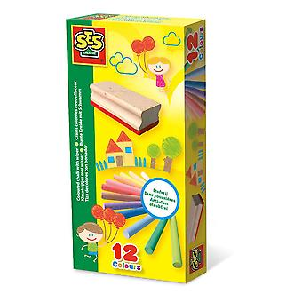 SES Creative Children's Coloured Chalk with Wiper Set 12 Colours (208)