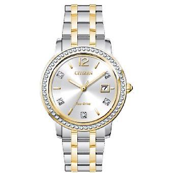Citizen Ladies Sukienka ze stali nierdzewnej Analogowy dwukońcowy zegarek FE1184-56B