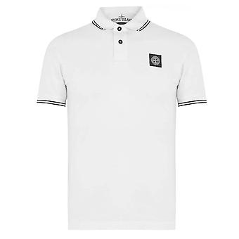 Stone Island | 522s18 Stretch Half-sleeve Tipped Collar Polo T-shirt - White