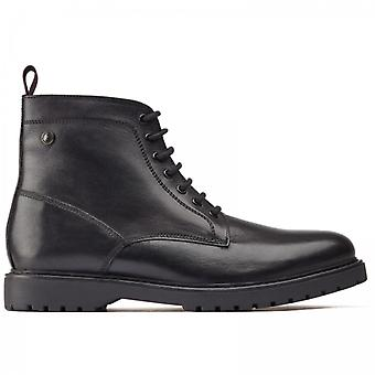 Base london forge Mens Botas de Tornozelo de Couro Preto