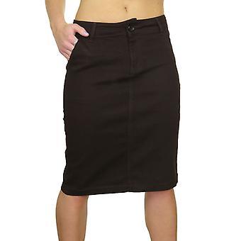 Mujeres's elástico Jean lápiz falda - señoras casual rodilla longitud delgada Midi Bodycon falda marrón tamaño 8