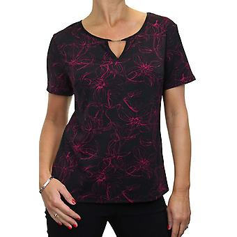 Women's Smart Floral Print Top Ladies Keyhole Stretch Shine Evening Business Short Sleeve Blouse 8-18