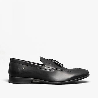 Basis London Ritz Herren Leder Loafers Waxy Schwarz