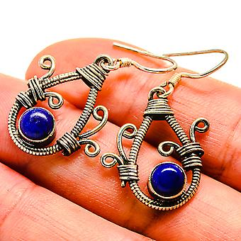 "Lapis Lazuli Earrings 1 1/2"" (925 Sterling Silver)  - Handmade Boho Vintage Jewelry EARR408934"