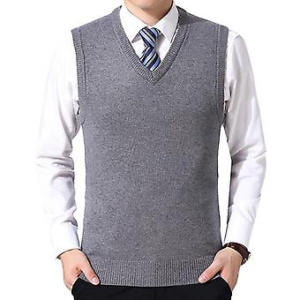 Knitting Sweater Vest Cashmere Sweaters Sleeveless Pullover Men V-neck Slim