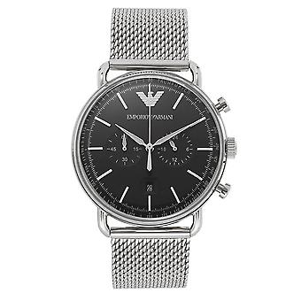 Armani Ar11104 Silver & Black Stainless Steel Mesh Chronograph Men's Watch