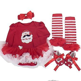 Npk et sæt dukke tøj til 20 - 22 tommer dukke baby pige tøj matchende rød santa mønster