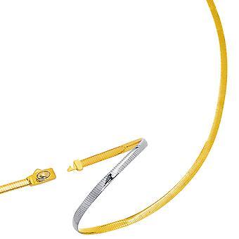 Two Tone Reversible Omega Kette Halskette aus 14k Gelb Gold und Sterlingsilber, 3mm