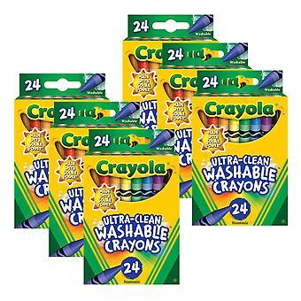 Crayones lavables ultra-limpios - tamaño regular, 24 por paquete, 6 paquetes