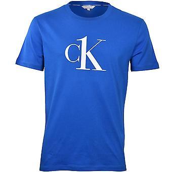 קלווין קליין CK1 לוגו רגוע צוות צוואר חולצת טריקו, כחול
