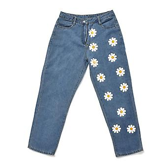 Fashion High Waisted Straight Cute Female Denim Long Pants Printed