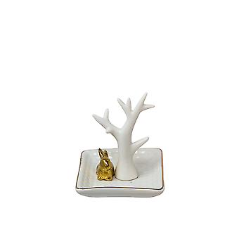 White/Gold Rabbit Ring Holder