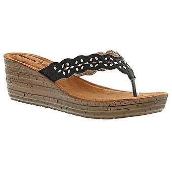 Inblu induct womens ladies wedge sandals black UK Size