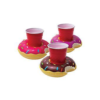 3Pcs barcos de bebidas infláveis donuts bebe porta copo