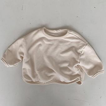Bébé/filles Solid Loose Long Sleeve Fleece Épaissir pull-shirt chaud pull