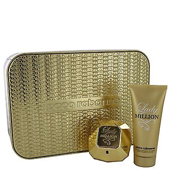 Lady Million Regalo Set por Paco Rabanne 2.7 oz Eau De Parfum Spray + 3.4 oz Body Lotion