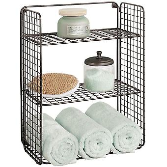 mDesign Foldable Metal Shelving Unit with 3 Tiers  ; Practical Wall-Mounted Bathroom Storage