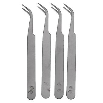 Silver Tone 5 Inch Length Metal Bent Tip Tweezers (silver)