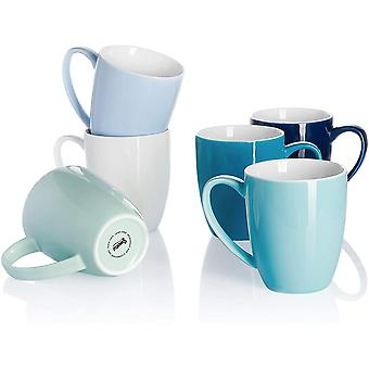 DZK 611.003 Porcelain Mug Set - 350 ml for Coffee, Cappuccino, Tea, Set of 6, Cool Assorted Colors