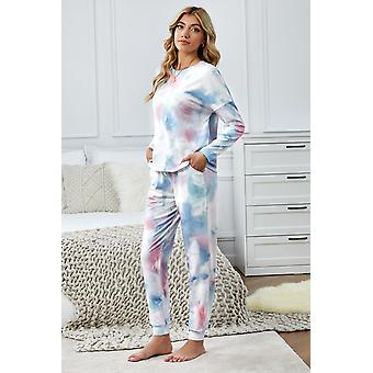 Casual Multicolor Tie Dye Knit Long Sleeve Joggers Set