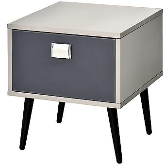 HOMCOM Retro Bedside Storage Table Stylish Nightstand Table w/ Drawer Metal Handle Legs Accent Bedroom Home Living Furniture Desk Grey