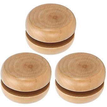 FengChun 3 Stck Holz Yo-Yo Holzspielzeug Yo-Yo DIY handgemachtes Kunsthandwerk Log Farbe Mini Runde