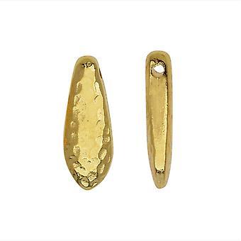 Metal Bead, Hammertone Dagger 5x14.5mm, 2 Stuks, Bright Gold, door TierraCast