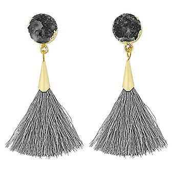 KYEYGWO - Kvinnors örhängen med tofs, boh mien stil, med tråd, med kristaller och droppträd och legering, färg: Ref örhängen. 0715444084508